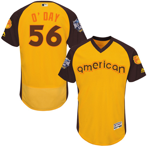 Orioles 56 Darren O'Day Yellow 2016 MLB All Star Game Flexbase Batting Practice Player Jersey