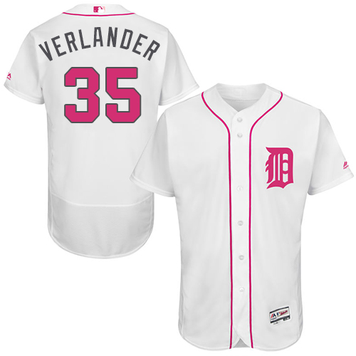 Tigers 35 Justin Verlander White Mother's Day Flexbase Jersey