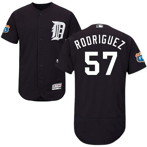 Tigers 57 Francisco Rodriguez Navy Flexbase Jersey