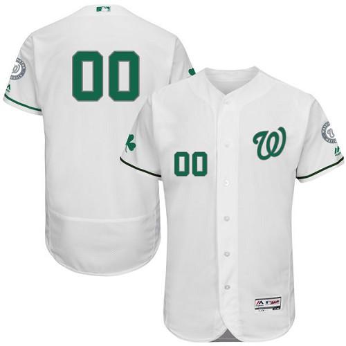 Washington Nationals White St. Patrick's Day Men's Flexbase Customized Jersey