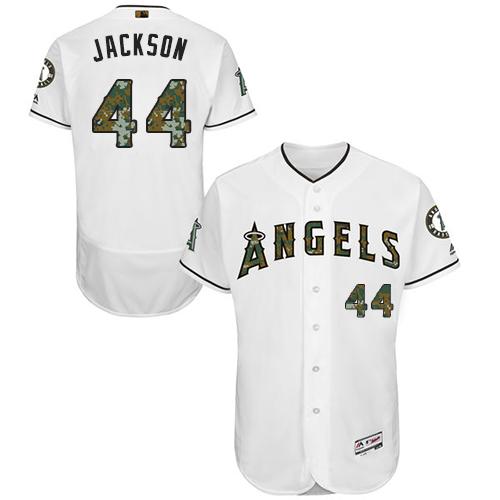 Angels 44 Reggie Jackson White Memorial Day Flexbase Jersey