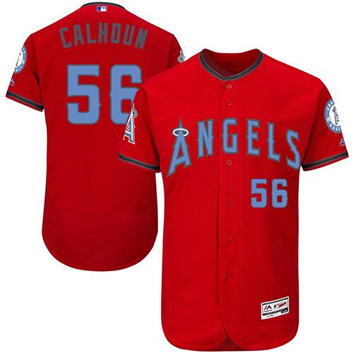 Angels 56 Kole Calhoun Red Father's Day Flexbase Jersey