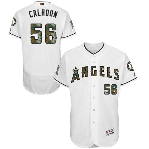Angels 56 Kole Calhoun White Memorial Day Flexbase Jersey