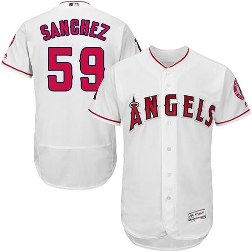 Angels 59 Tony Sanchez White Flexbase Jersey