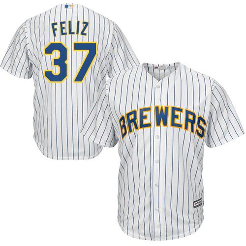 Brewers 37 Neftali Feliz White Cool Base Player Jersey