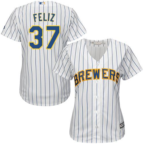 Brewers 37 Neftali Feliz White Women Cool Base Jersey