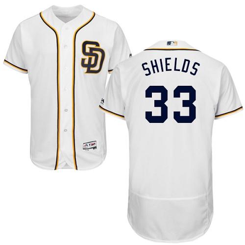 Padres 33 James Shields White Flexbase Jersey