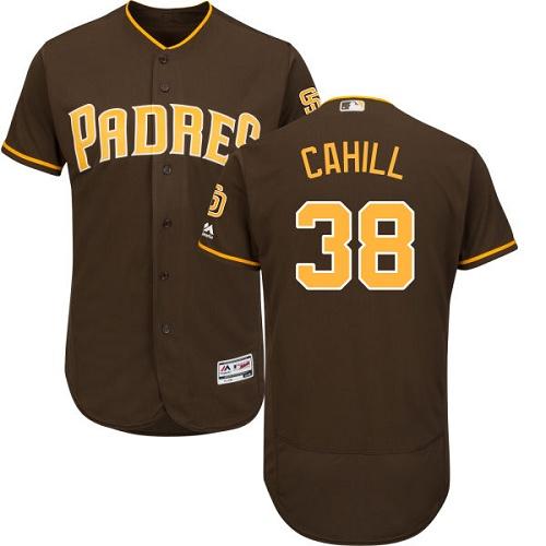 Padres 38 Trevor Cahill Brown Flexbase Jersey