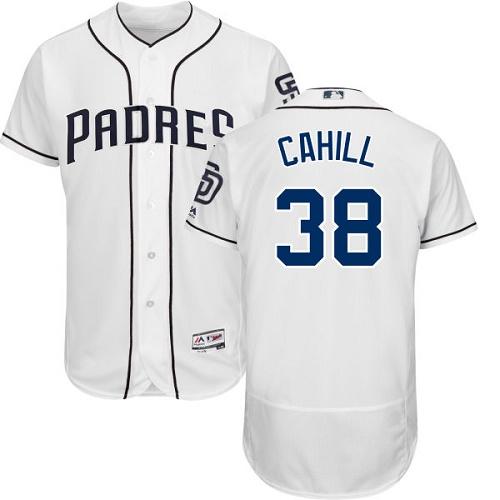 Padres 38 Trevor Cahill White Flexbase Jersey
