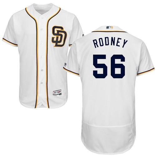 Padres 56 Fernando Rodney White Flexbase Jersey