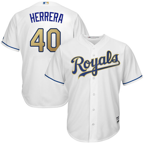 Royals 40 Kelvin Herrera White 2015 World Series Champions Gold Program Cool Base Jersey
