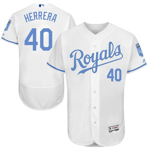 Royals 40 Kelvin Herrera White Father's Day Flexbase Jersey