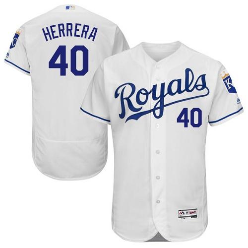 Royals 40 Kelvin Herrera White Flexbase Jersey