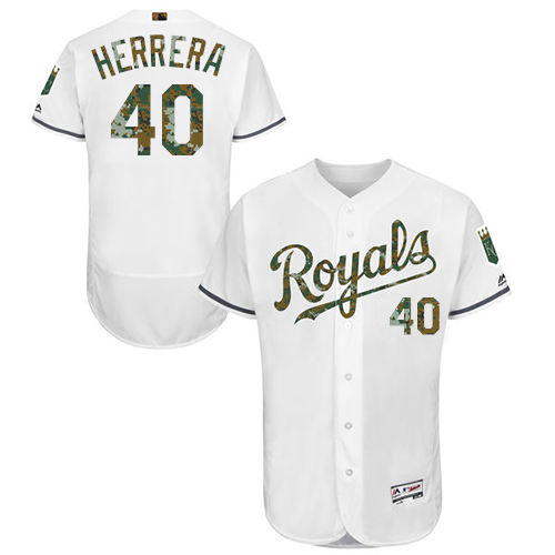 Royals 40 Kelvin Herrera White Memorial Day Flexbase Jersey