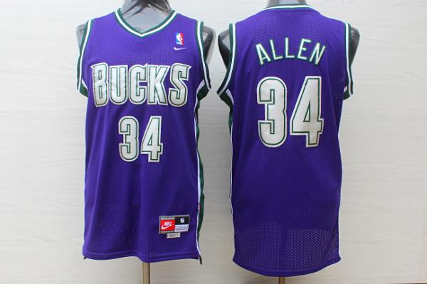 Bucks 34 Ray Allen Purple Nike Jersey