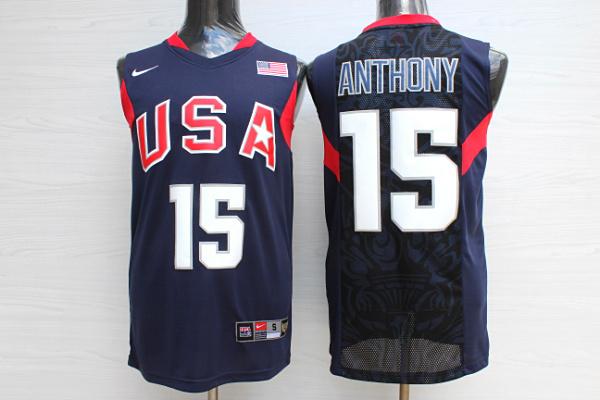 Team USA Basketball 15 Carmelo Anthony Navy Nike Stitched Jersey