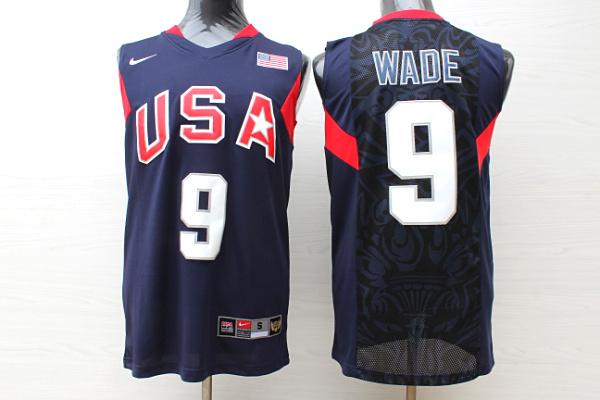 Team USA Basketball 9 Dwyane Wade Navy Nike Stitched Jersey