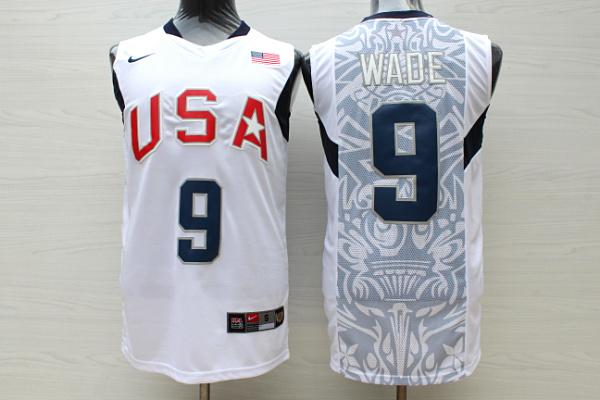 Team USA Basketball 9 Dwyane Wade White Nike Stitched Jersey