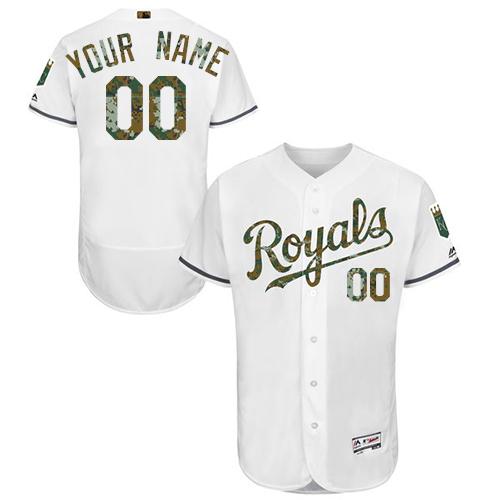 Kansas City Royals White Memorial Day Men's Customized Flexbase Jersey
