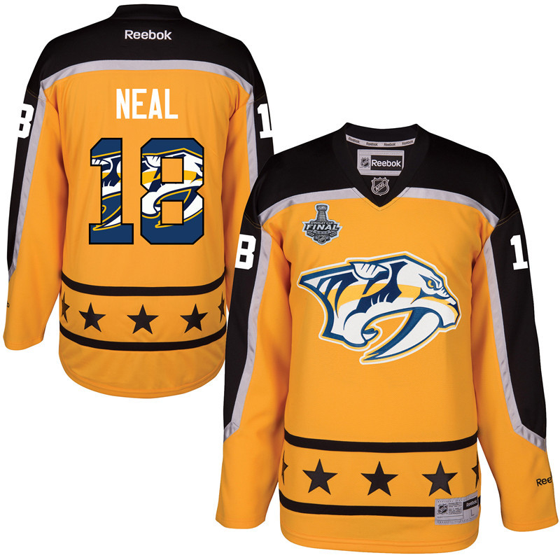 Predators 18 James Neal Gold 2017 Stanley Cup Final Team Logo Print Reebok Jersey