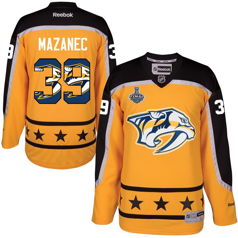 Predators 39 Marek Mazanec Gold 2017 Stanley Cup Final Team Logo Print Reebok Jersey