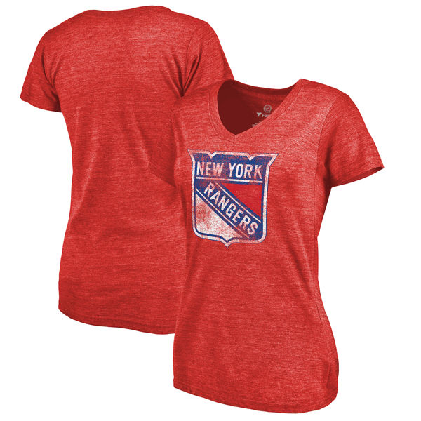New York Rangers Women's Distressed Team Primary Logo V Neck Tri Blend T-Shirt Red