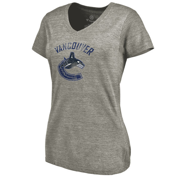 Vancouver Canucks Women's Distressed Team Logo Tri Blend V Neck T-Shirt Ash