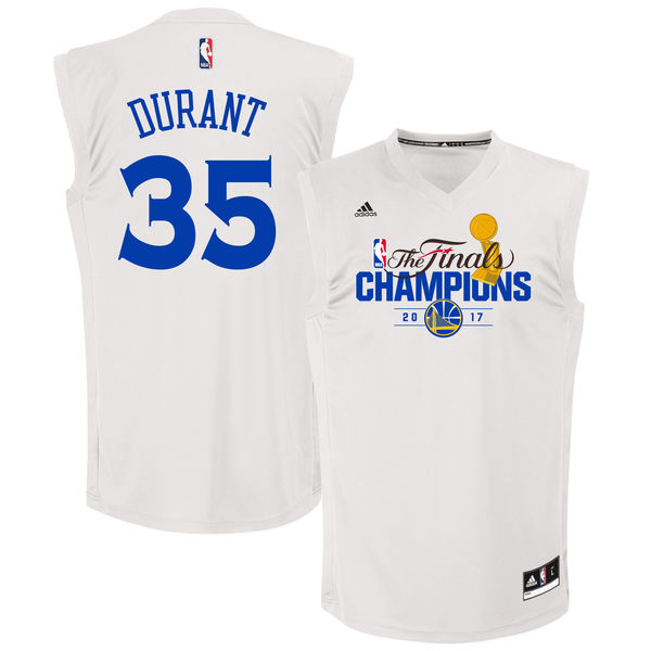Warriors 35 Kevin Durant White 2017 NBA Champions Replica Jersey