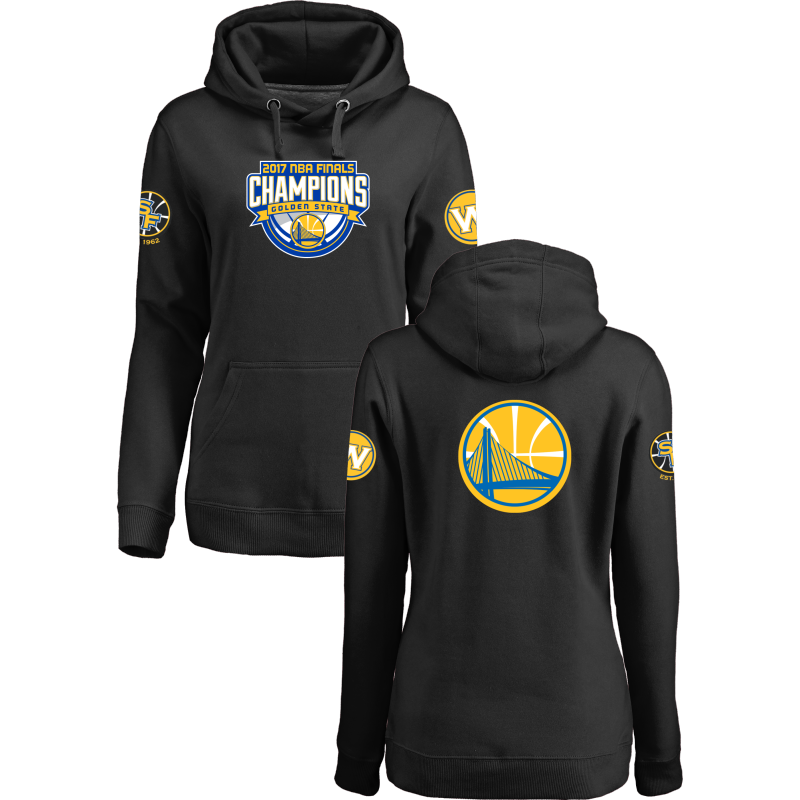 Golden State Warriors 2017 NBA Champions Black Women's Pullover Hoodie2