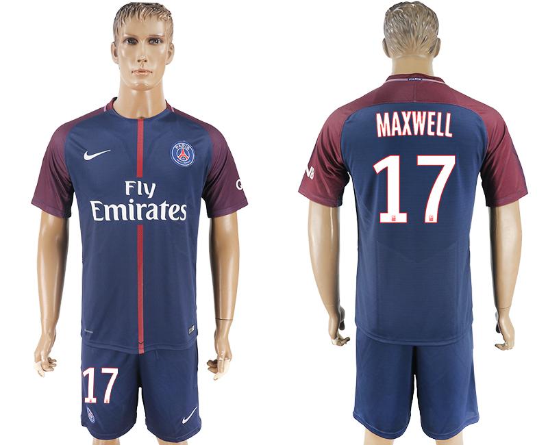 2017-18 Paris Saint-Germain 17 MAXWELL Home Soccer Jersey