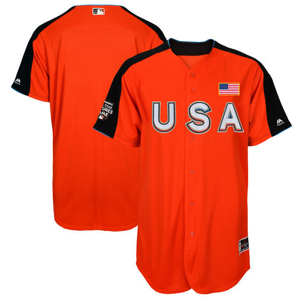 Men's Team USA Majestic Orange 2017 MLB All-Star Futures Game Authentic On-Field Jersey