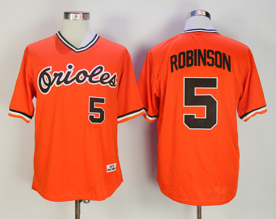 Orioles 5 Brooks Robinson Orange 1975 Throwback Jersey