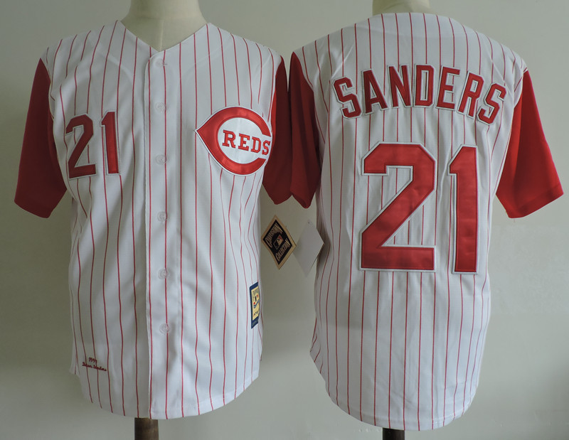 Reds 21 Reggie Sanders White Cooperstown Collection Jersey