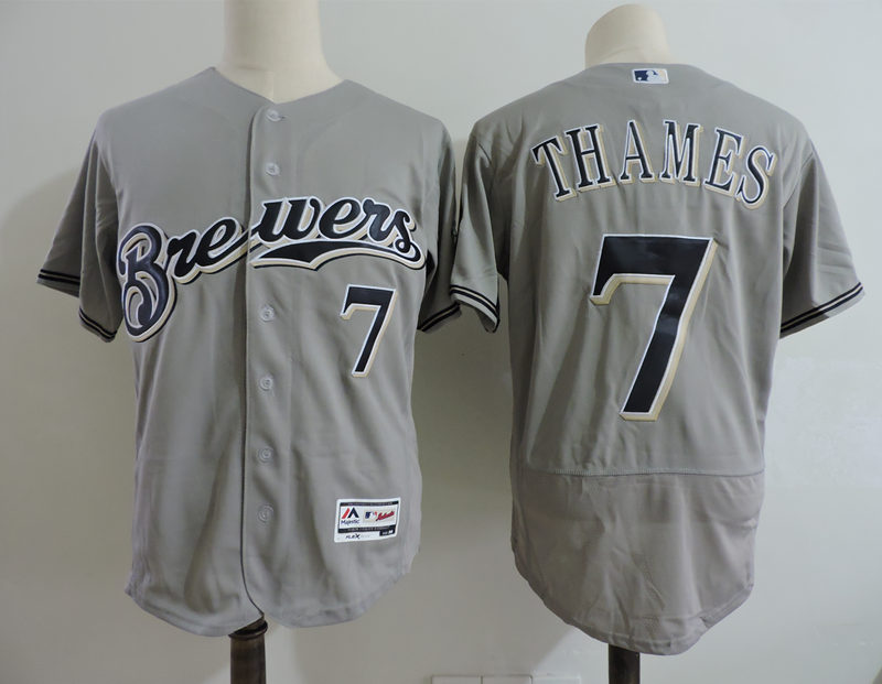 Brewers 7 Eric Thames Gray Flexbase Jersey