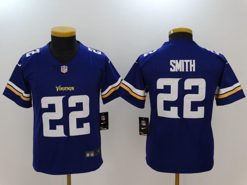 Nike Vikings 22 Harrison Smith Purple Vapor Untouchable Youth Limited Jersey