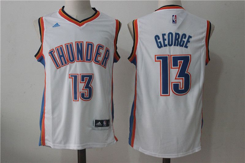 Thunder 13 Paul George White Swingman Jersey