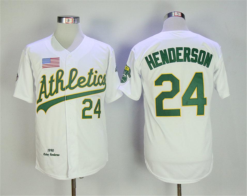 Athletics 24 Rickey Henderson White 1990 Throwback Jersey