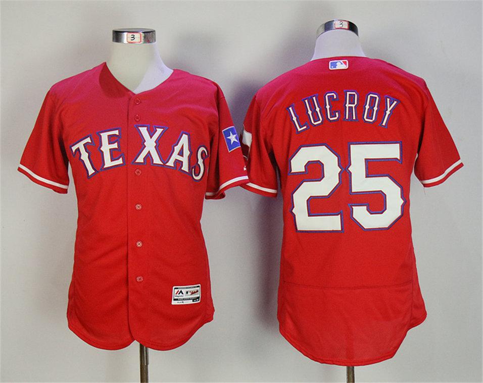 Rangers 25 Jonathan Lucroy Red Flexbase Jersey