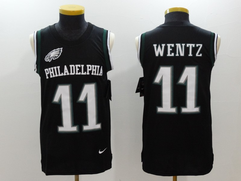 Nike Eagles 11 Carson Wentz Black Color Rush Name & Number Tank Top