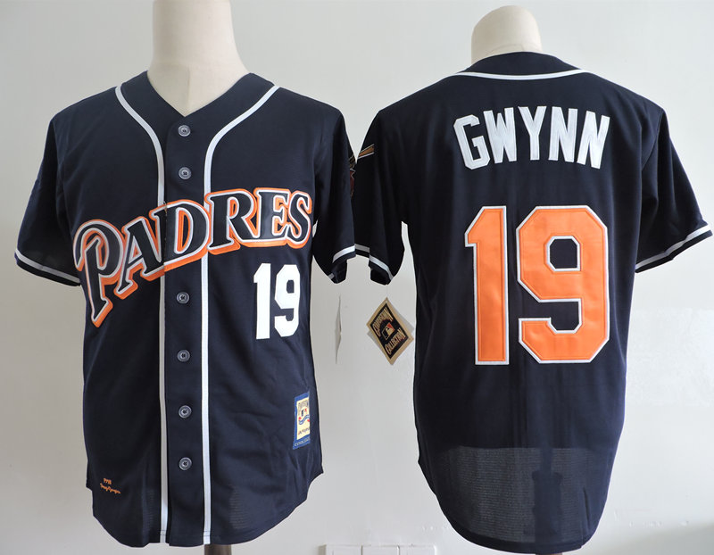 Padres 19 Tony Gwynn Navy 1998 Cooperstown Colletion Jersey