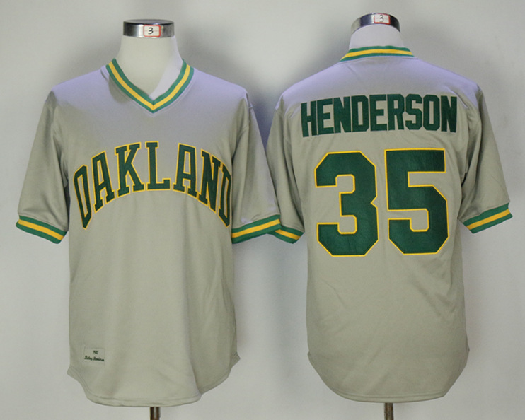 Athletics 35 Rickey Henderson Gray Throwback Jersey