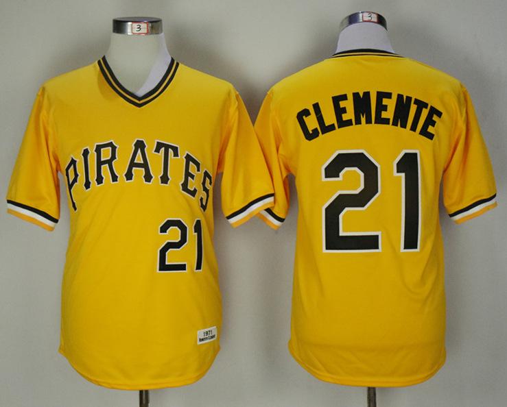 Pirates 21 Roberto Clemente Gold Alternate 1971 Jersey