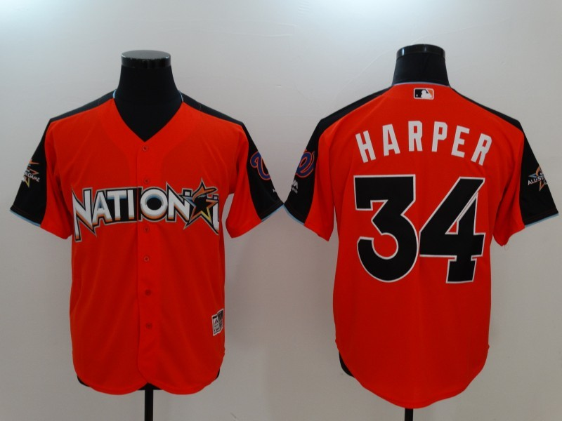 National League 34 Bryce Harper Orange 2017 MLB All-Star Game Home Run Derby Player Jersey