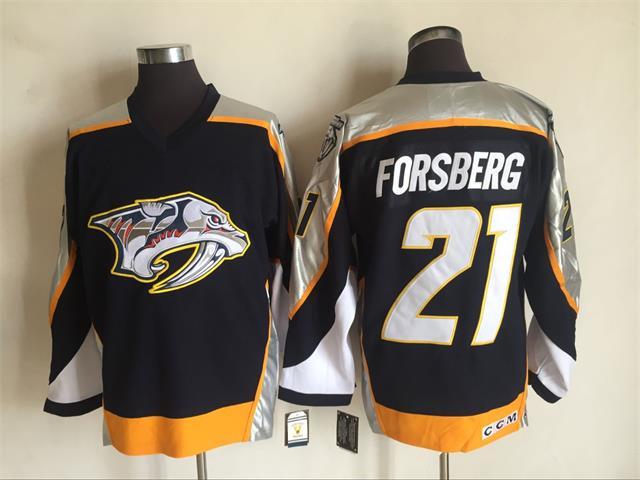 Predators 21 Peter Forsberg Black CCM Jersey