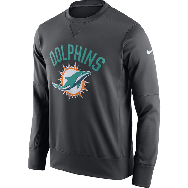 Men's Miami Dolphins Nike Anthracite Sideline Circuit Performance Sweatshirt