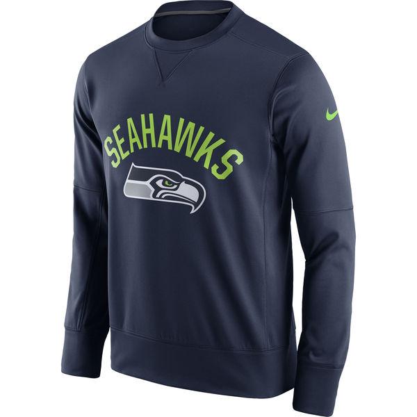 Men's Seattle Seahawks Nike College Navy Sideline Circuit Performance Sweatshirt
