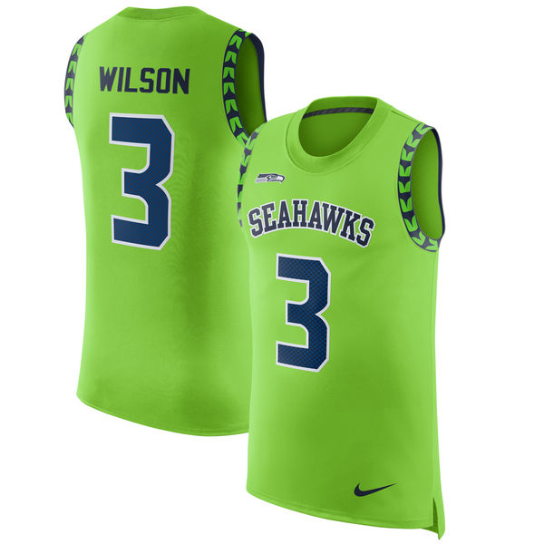 Nike Seahawks 3 Russell Wilson Green Color Rush Men's Tank Top