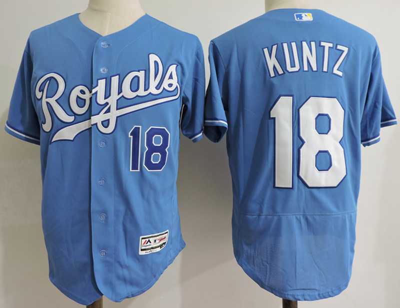 Royals 18 Rusty Kunz Light Blue Flexbase Jersey