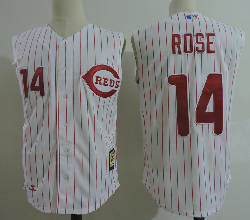 Reds 14 Pete Rose White Cooperstown Collection Player Jersey