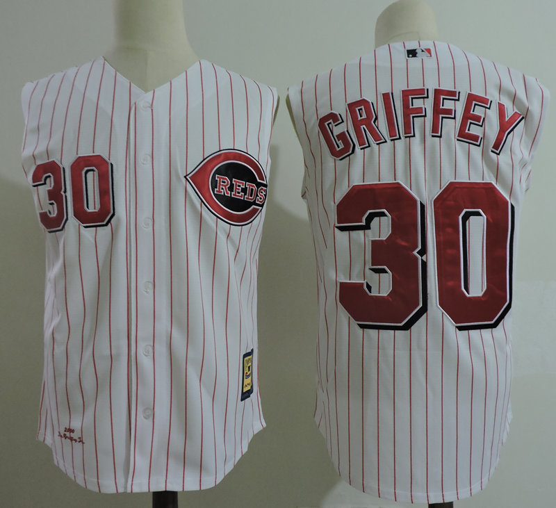 Reds 30 Ken Griffey Jr White Cooperstown Collection Player Jersey